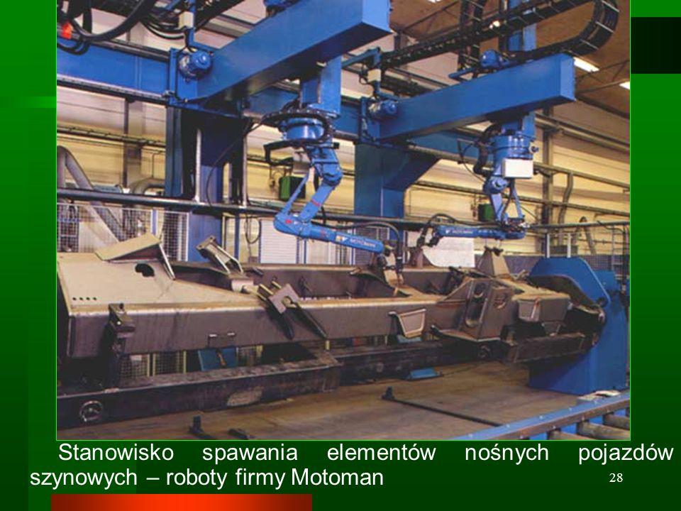 28 Stanowisko spawania elementów nośnych pojazdów szynowych – roboty firmy Motoman