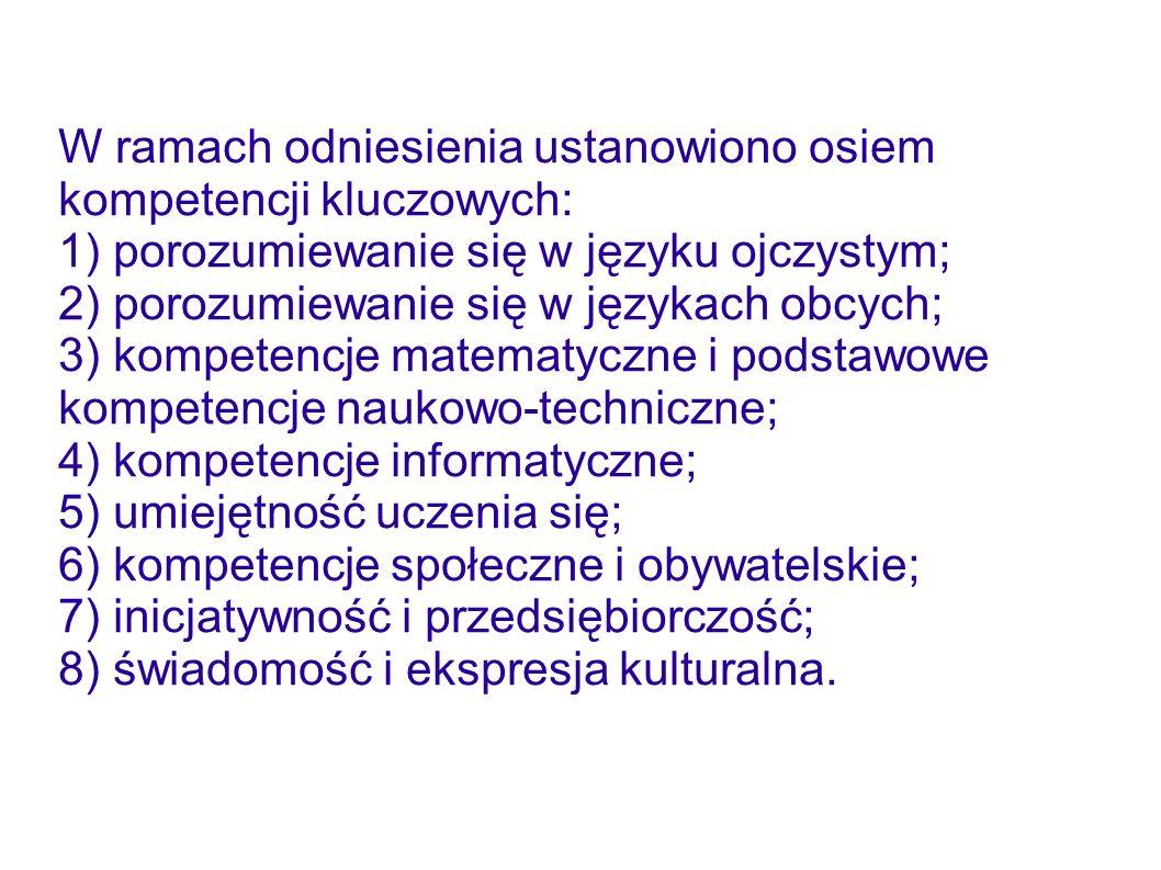 W ramach odniesienia ustanowiono osiem kompetencji kluczowych: 1) porozumiewanie się w języku ojczystym; 2) porozumiewanie się w językach obcych; 3) k