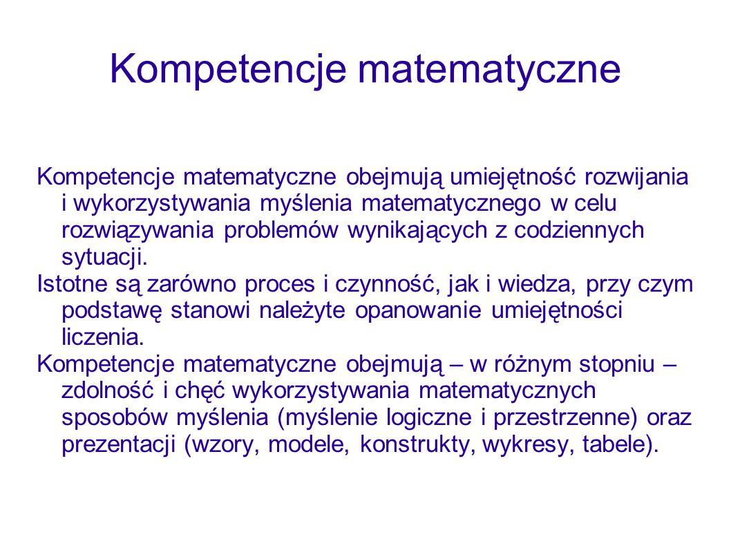 Kompetencje matematyczne Kompetencje matematyczne obejmują umiejętność rozwijania i wykorzystywania myślenia matematycznego w celu rozwiązywania probl
