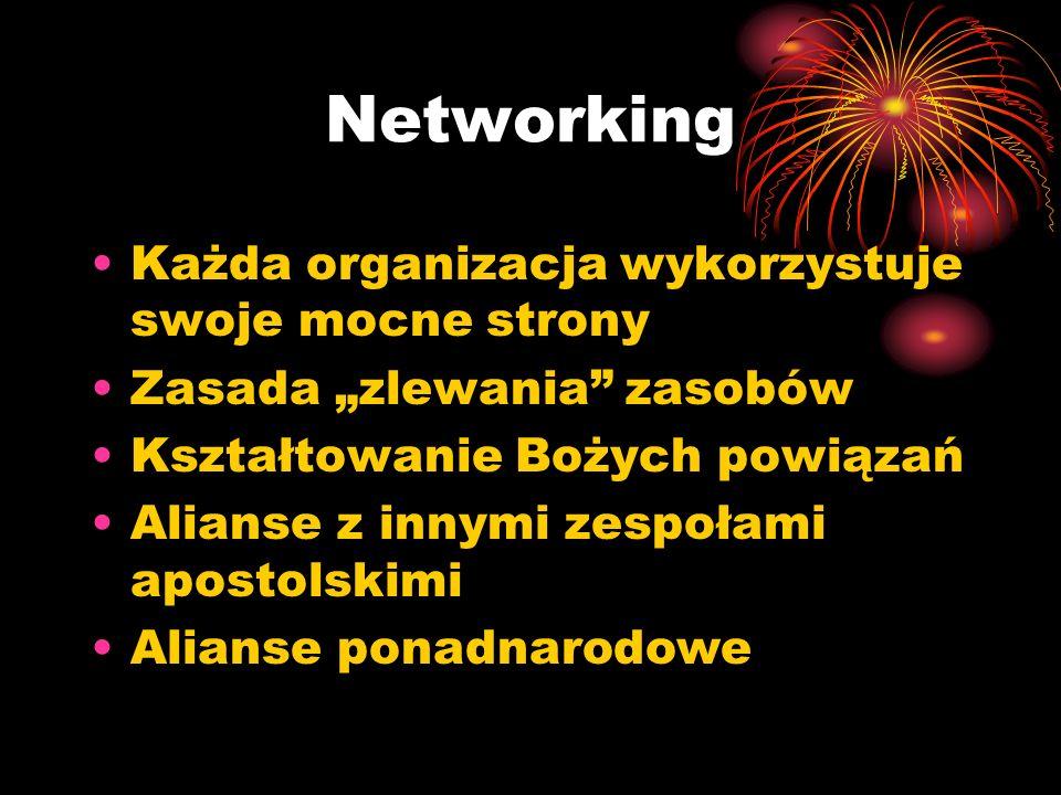 Networking Każda organizacja wykorzystuje swoje mocne strony Zasada zlewania zasobów Kształtowanie Bożych powiązań Alianse z innymi zespołami apostolskimi Alianse ponadnarodowe