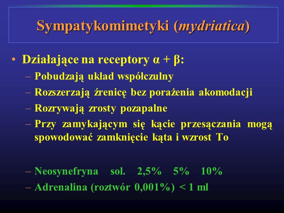 Sympatykomimetyki (mydriatica) Działające na receptory α + β: –Pobudzają układ współczulny –Rozszerzają źrenicę bez porażenia akomodacji –Rozrywają zr