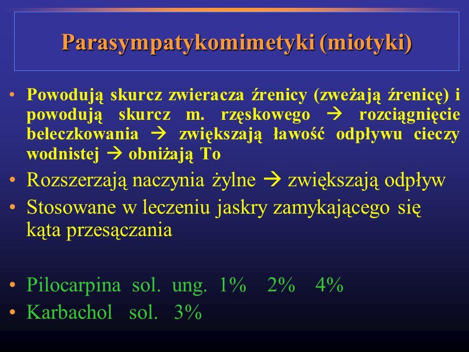 Parasympatykomimetyki (miotyki) Powodują skurcz zwieracza źrenicy (zweżają źrenicę) i powodują skurcz m. rzęskowego rozciągnięcie beleczkowania zwięks