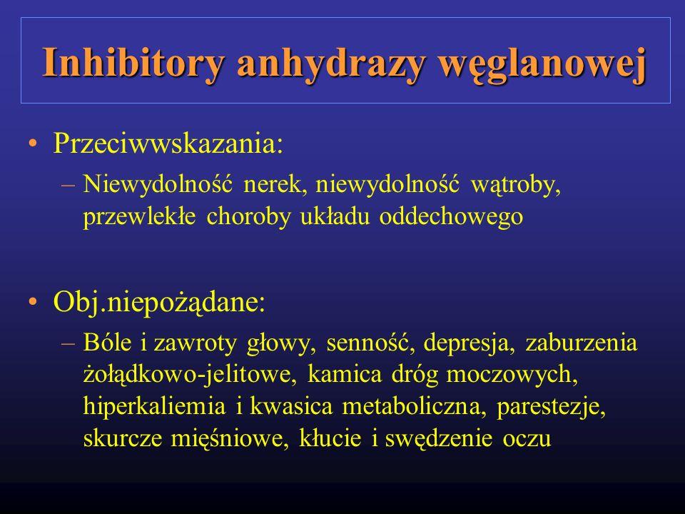 Inhibitory anhydrazy węglanowej Przeciwwskazania: –Niewydolność nerek, niewydolność wątroby, przewlekłe choroby układu oddechowego Obj.niepożądane: –B