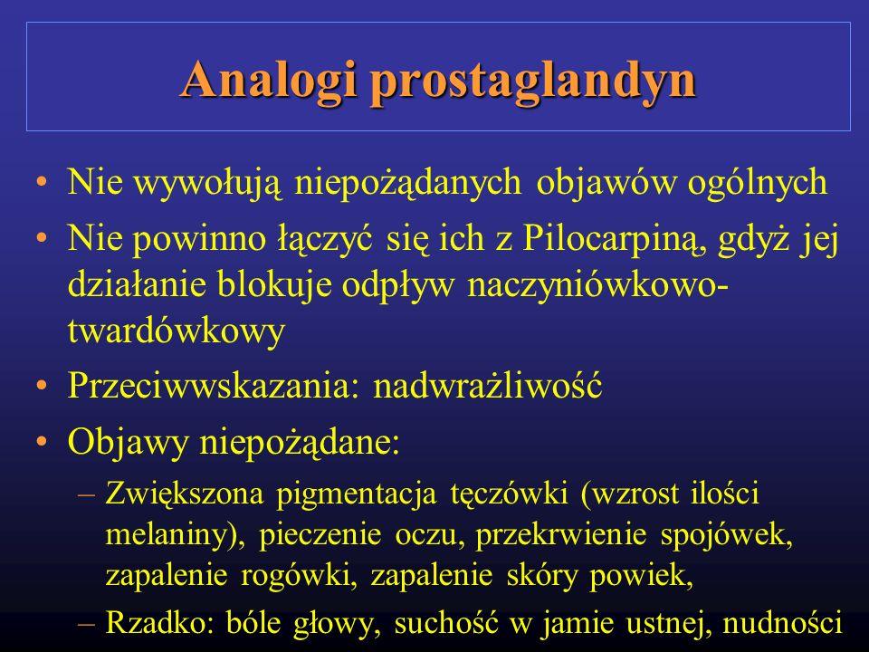 Analogi prostaglandyn Nie wywołują niepożądanych objawów ogólnych Nie powinno łączyć się ich z Pilocarpiną, gdyż jej działanie blokuje odpływ naczynió