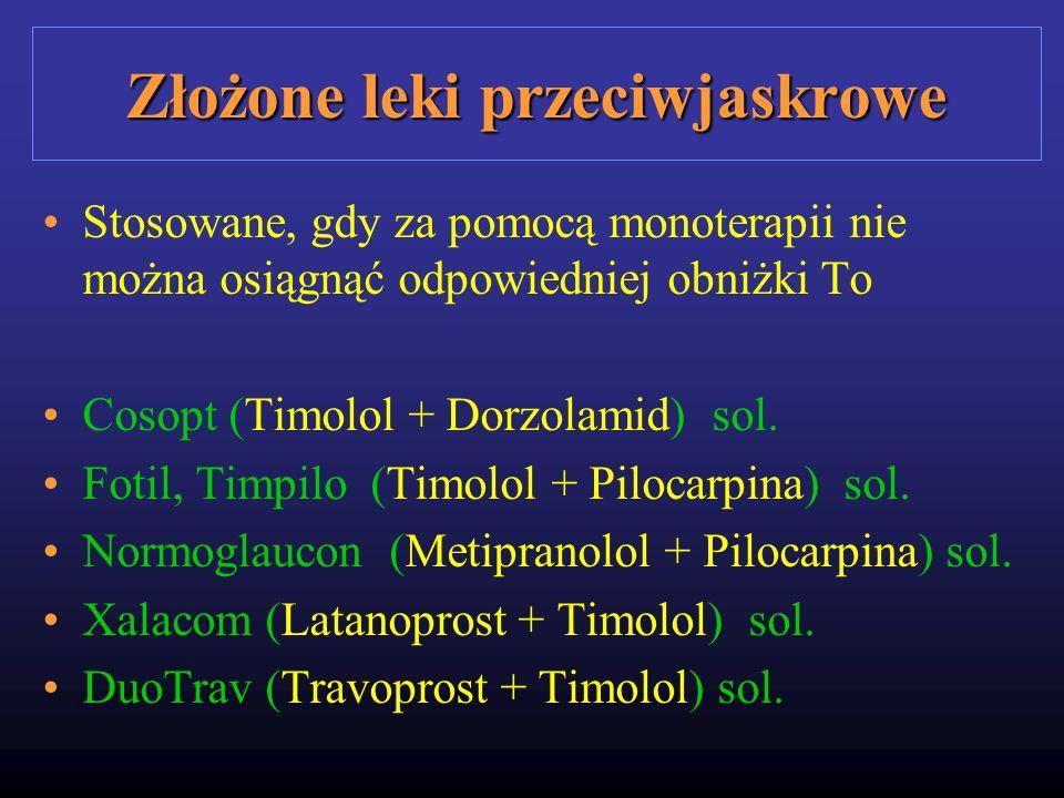 Złożone leki przeciwjaskrowe Stosowane, gdy za pomocą monoterapii nie można osiągnąć odpowiedniej obniżki To Cosopt (Timolol + Dorzolamid) sol. Fotil,