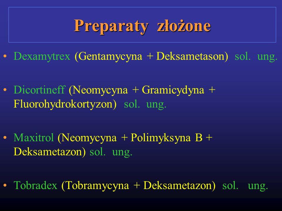 Preparaty złożone Dexamytrex (Gentamycyna + Deksametason) sol. ung. Dicortineff (Neomycyna + Gramicydyna + Fluorohydrokortyzon) sol. ung. Maxitrol (Ne