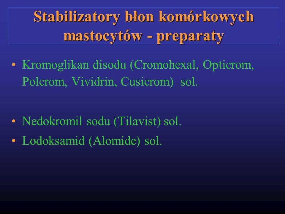 Stabilizatory błon komórkowych mastocytów - preparaty Kromoglikan disodu (Cromohexal, Opticrom, Polcrom, Vividrin, Cusicrom) sol. Nedokromil sodu (Til