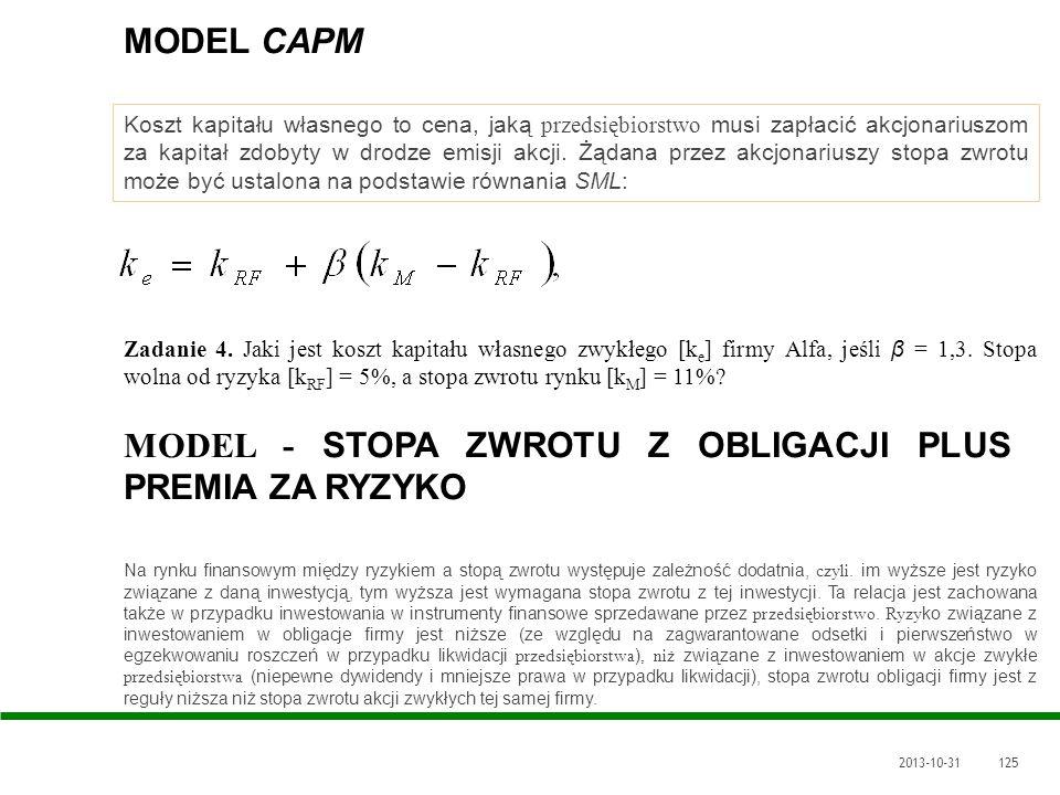 2013-10-31125 MODEL CAPM Koszt kapitału własnego to cena, jaką przedsiębiorstwo musi zapłacić akcjonariuszom za kapitał zdobyty w drodze emisji akcji.
