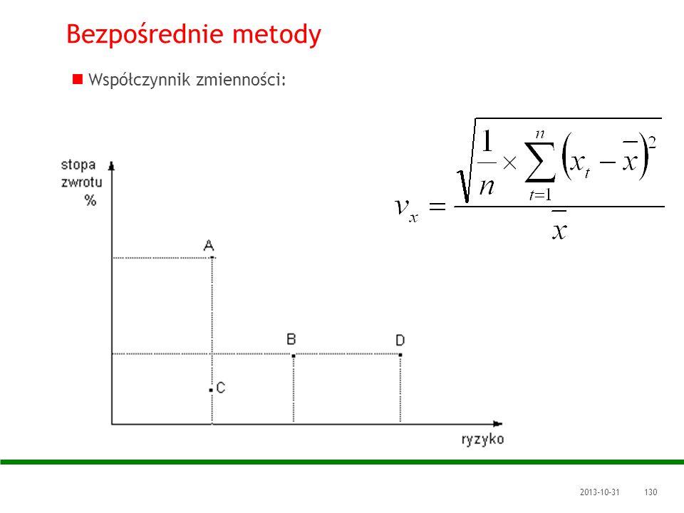 2013-10-31130 Bezpośrednie metody Współczynnik zmienności: