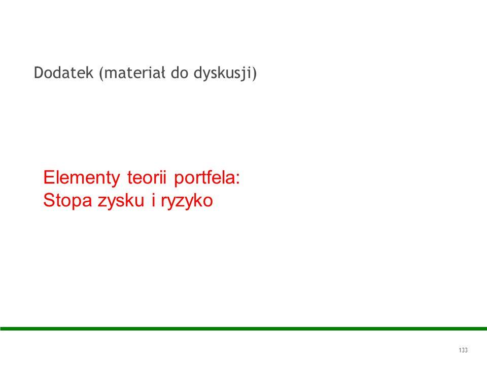 133 Elementy teorii portfela: Stopa zysku i ryzyko Dodatek (materiał do dyskusji)