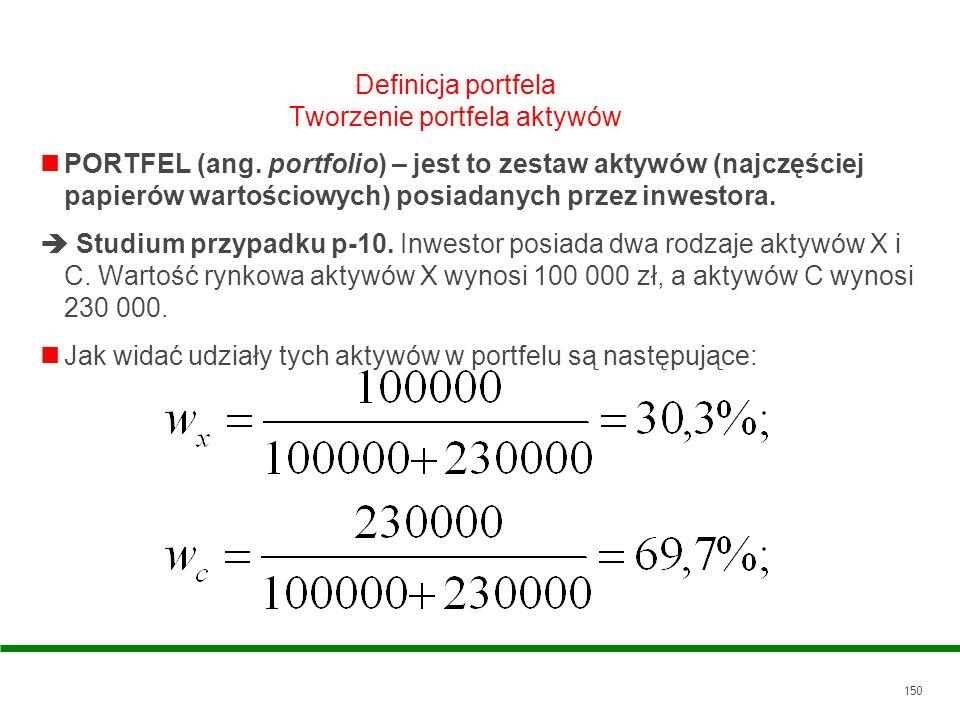 150 Definicja portfela Tworzenie portfela aktywów PORTFEL (ang. portfolio) – jest to zestaw aktywów (najczęściej papierów wartościowych) posiadanych p