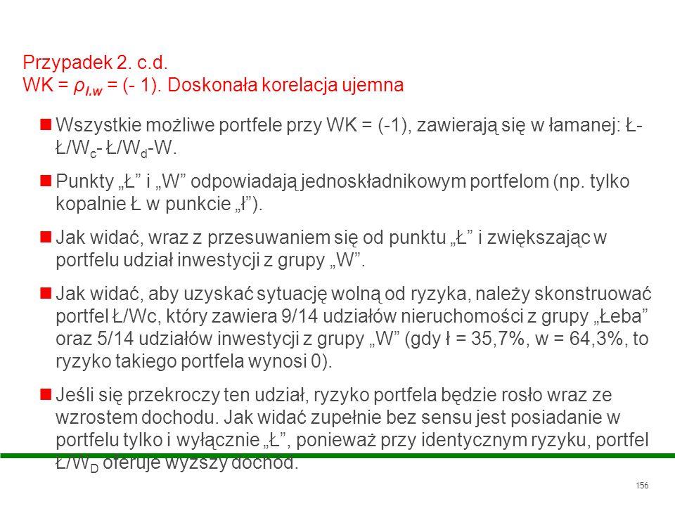 156 Przypadek 2. c.d. WK = ρ l.w = (- 1). Doskonała korelacja ujemna Wszystkie możliwe portfele przy WK = (-1), zawierają się w łamanej: Ł- Ł/W c - Ł/