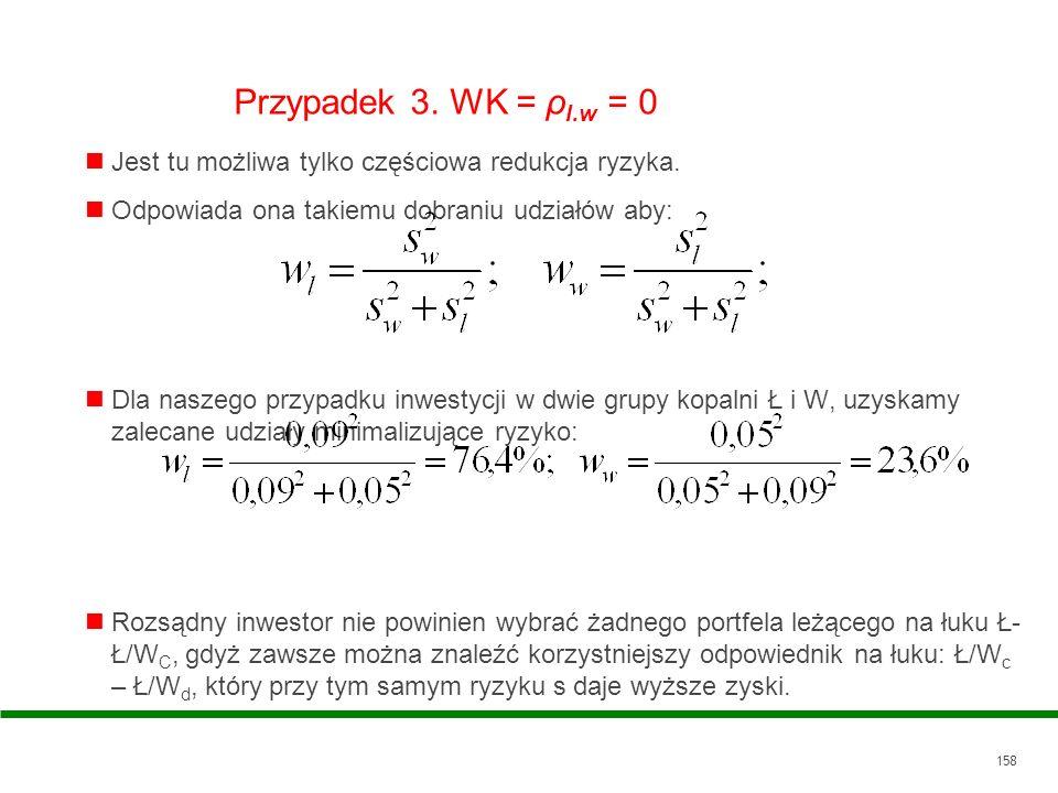 158 Przypadek 3. WK = ρ l.w = 0 Jest tu możliwa tylko częściowa redukcja ryzyka. Odpowiada ona takiemu dobraniu udziałów aby: Dla naszego przypadku in