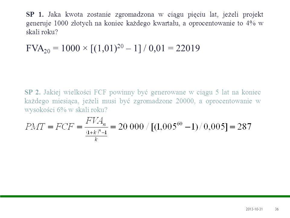 2013-10-3136 SP 1. Jaka kwota zostanie zgromadzona w ciągu pięciu lat, jeżeli projekt generuje 1000 złotych na koniec każdego kwartału, a oprocentowan