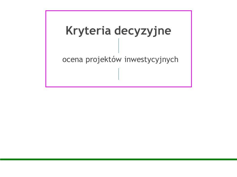 Kryteria decyzyjne ocena projektów inwestycyjnych