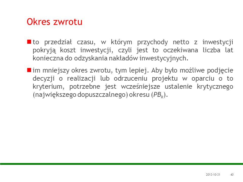 2013-10-3140 Okres zwrotu to przedział czasu, w którym przychody netto z inwestycji pokryją koszt inwestycji, czyli jest to oczekiwana liczba lat koni