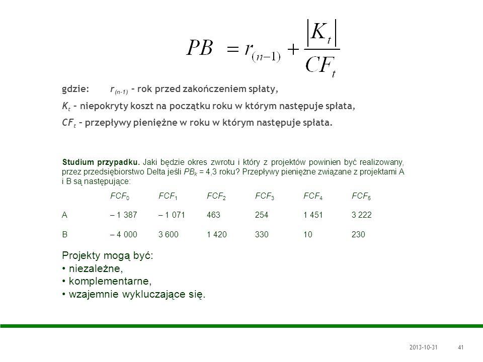 2013-10-3141 gdzie: r (n-1) – rok przed zakończeniem spłaty, K t – niepokryty koszt na początku roku w którym następuje spłata, CF t – przepływy pieni