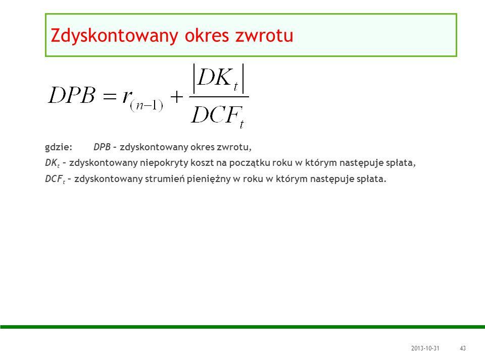 2013-10-3143 gdzie: DPB – zdyskontowany okres zwrotu, DK t – zdyskontowany niepokryty koszt na początku roku w którym następuje spłata, DCF t – zdysko