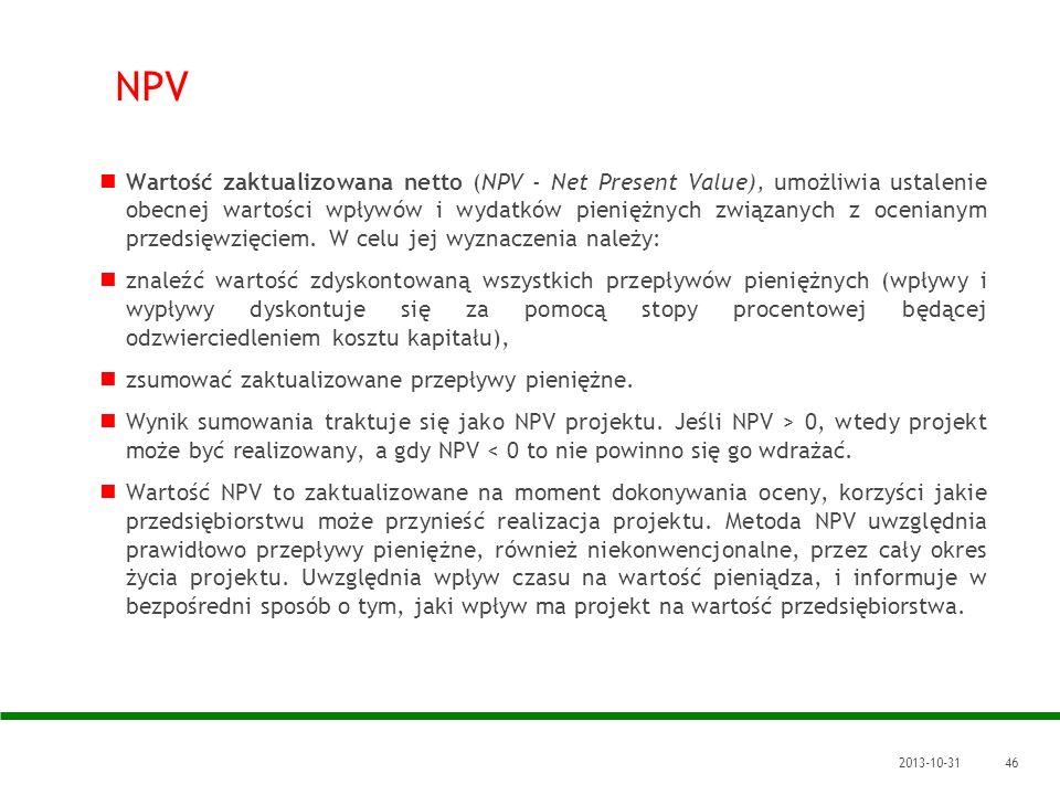 2013-10-3146 NPV Wartość zaktualizowana netto (NPV - Net Present Value), umożliwia ustalenie obecnej wartości wpływów i wydatków pieniężnych związanyc