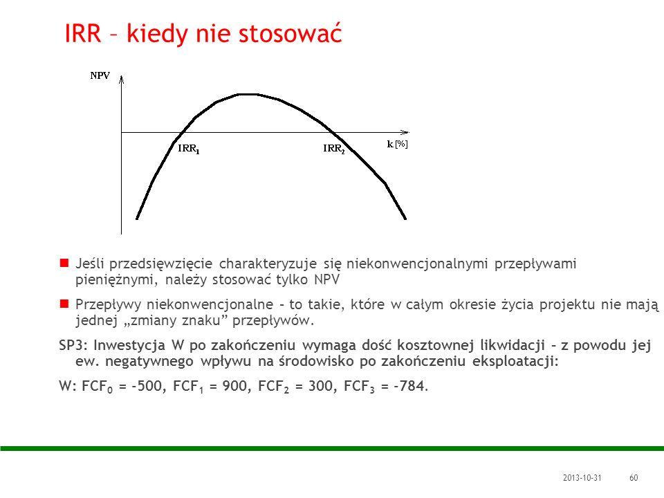 2013-10-3160 IRR – kiedy nie stosować Jeśli przedsięwzięcie charakteryzuje się niekonwencjonalnymi przepływami pieniężnymi, należy stosować tylko NPV