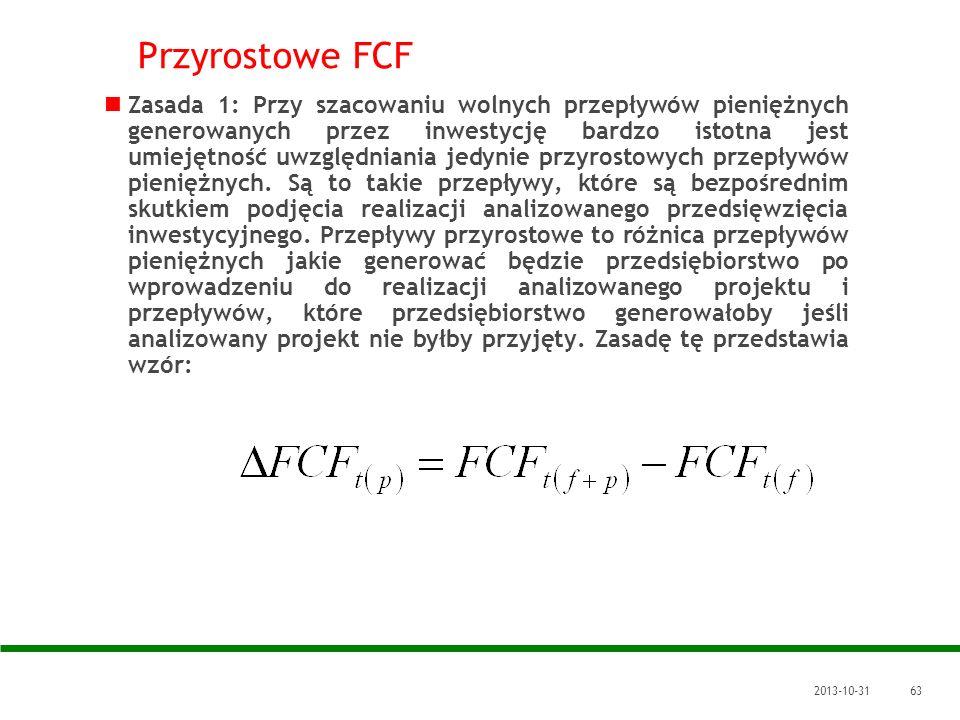 2013-10-3163 Przyrostowe FCF Zasada 1: Przy szacowaniu wolnych przepływów pieniężnych generowanych przez inwestycję bardzo istotna jest umiejętność uw