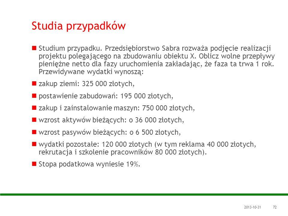 2013-10-3172 Studia przypadków Studium przypadku. Przedsiębiorstwo Sabra rozważa podjęcie realizacji projektu polegającego na zbudowaniu obiektu X. Ob