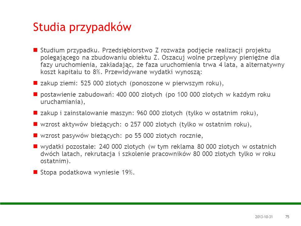 2013-10-3175 Studia przypadków Studium przypadku. Przedsiębiorstwo Z rozważa podjęcie realizacji projektu polegającego na zbudowaniu obiektu Z. Oszacu