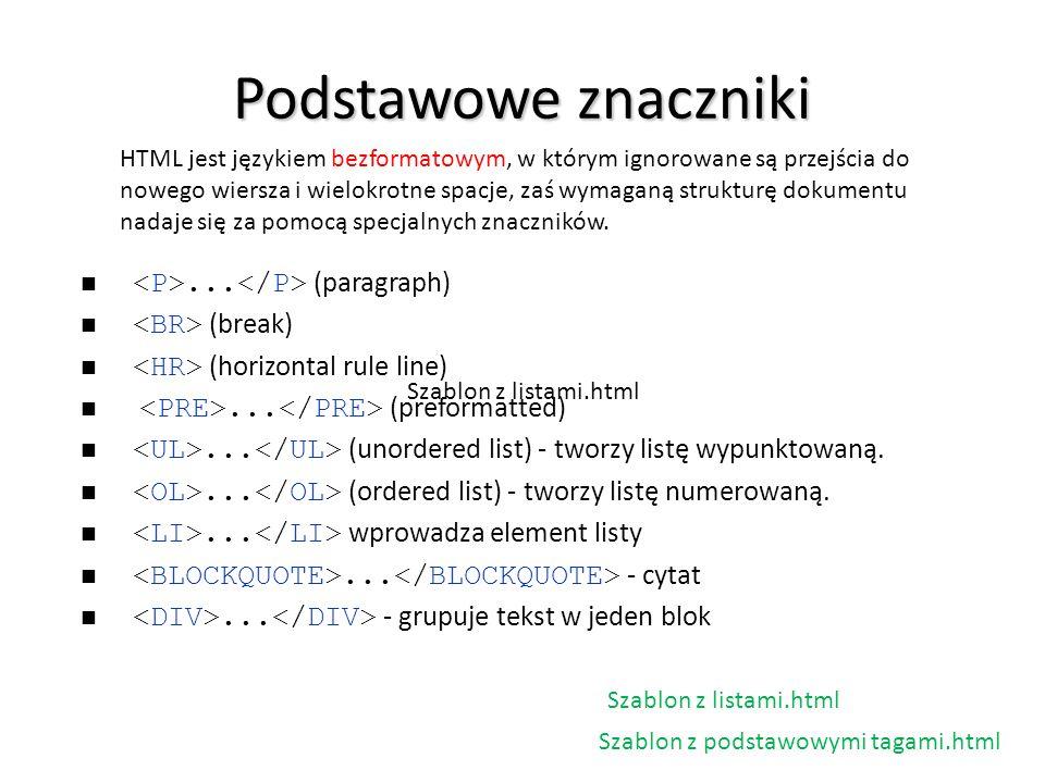 Podstawowe znaczniki HTML jest językiem bezformatowym, w którym ignorowane są przejścia do nowego wiersza i wielokrotne spacje, zaś wymaganą strukturę