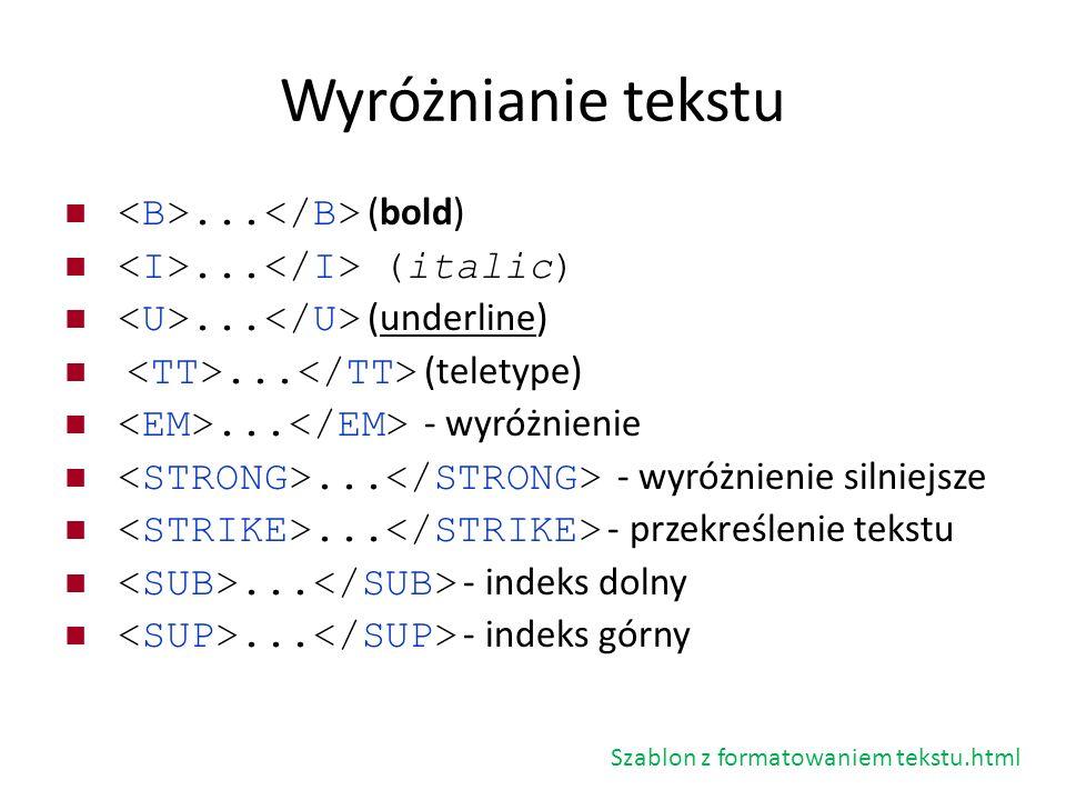 Wyróżnianie tekstu... (bold)... (italic)... (underline)... (teletype)... - wyróżnienie... - wyróżnienie silniejsze... - przekreślenie tekstu... - inde