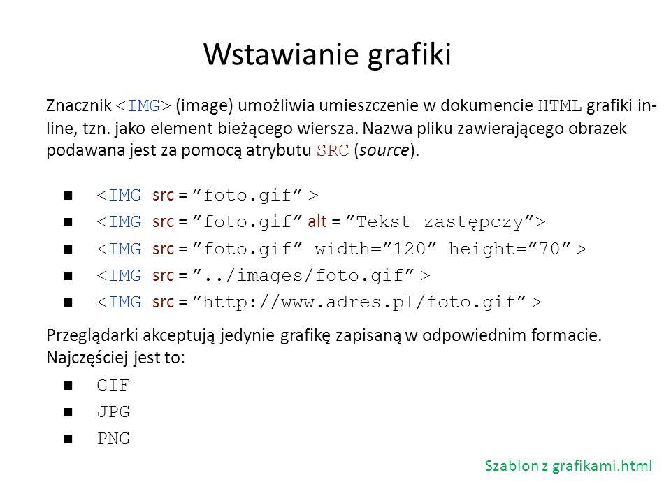 Znacznik (image) umożliwia umieszczenie w dokumencie HTML grafiki in- line, tzn. jako element bieżącego wiersza. Nazwa pliku zawierającego obrazek pod