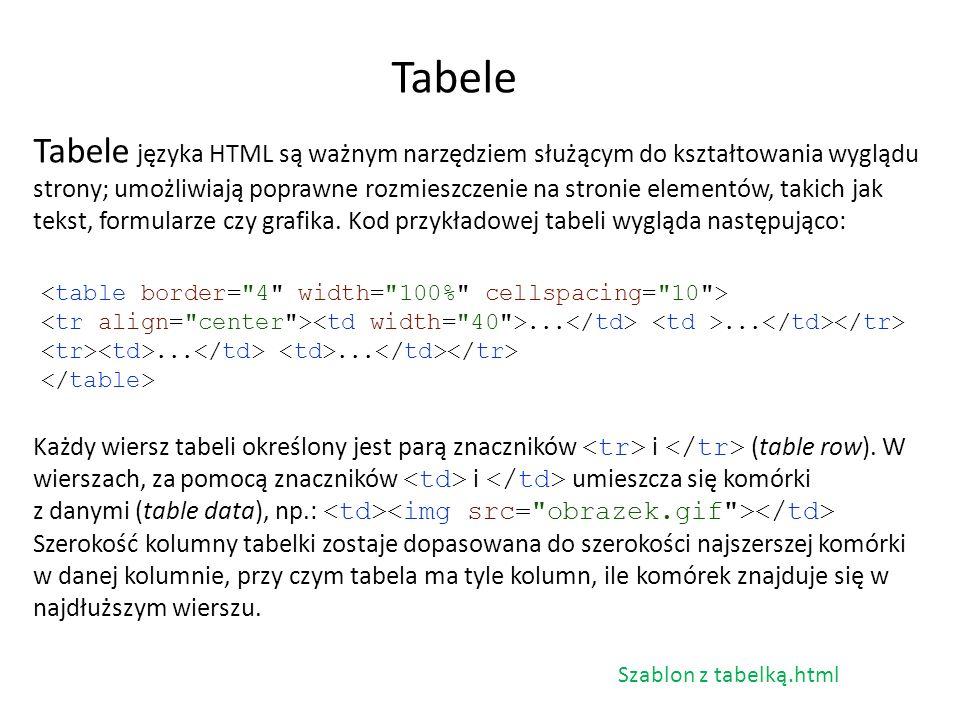 Tabele języka HTML są ważnym narzędziem służącym do kształtowania wyglądu strony; umożliwiają poprawne rozmieszczenie na stronie elementów, takich jak