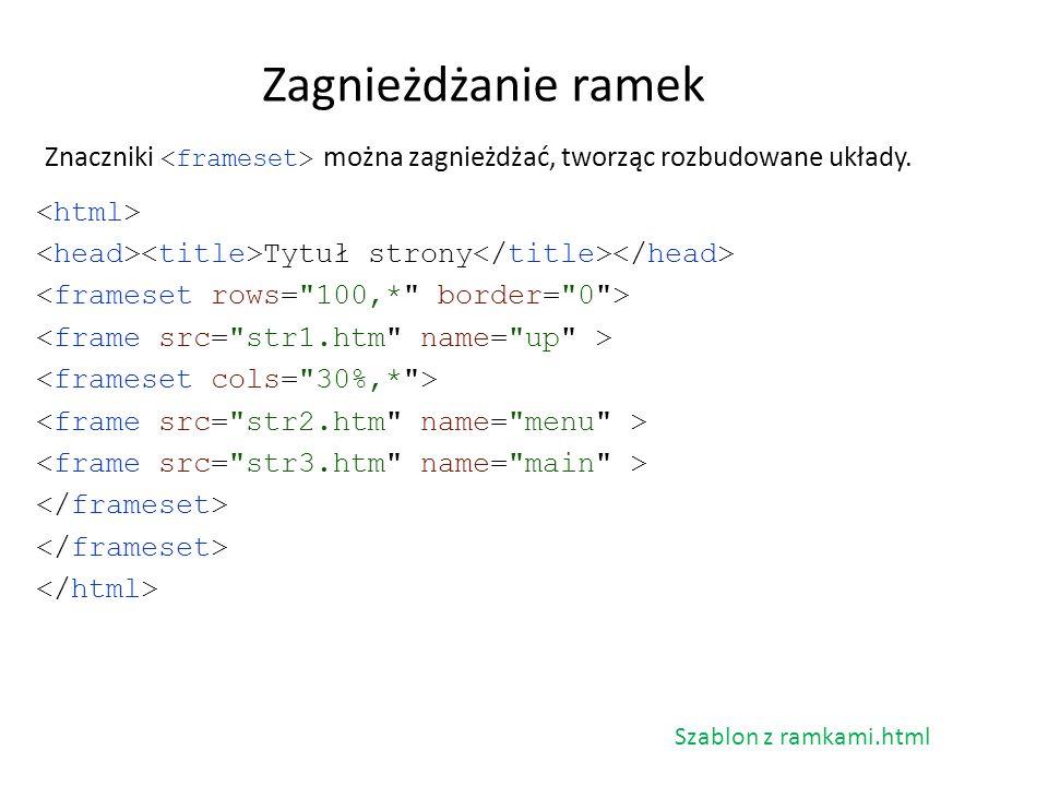 Znaczniki można zagnieżdżać, tworząc rozbudowane układy. Zagnieżdżanie ramek Tytuł strony Szablon z ramkami.html