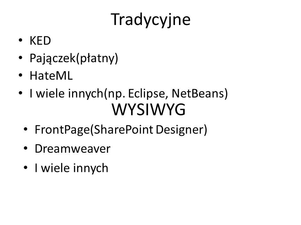 Tradycyjne KED Pajączek(płatny) HateML I wiele innych(np. Eclipse, NetBeans) WYSIWYG FrontPage(SharePoint Designer) Dreamweaver I wiele innych