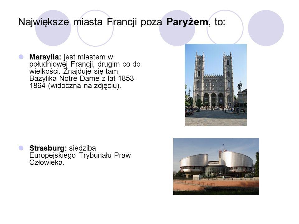 Największe miasta Francji poza Paryżem, to: Marsylia: Marsylia: jest miastem w południowej Francji, drugim co do wielkości. Znajduje się tam Bazylika