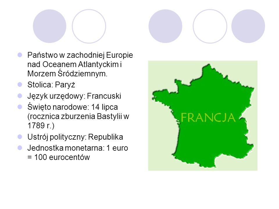 Państwo w zachodniej Europie nad Oceanem Atlantyckim i Morzem Śródziemnym. Stolica: Paryż Język urzędowy: Francuski Święto narodowe: 14 lipca (rocznic