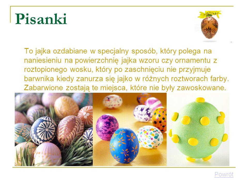 Pisanki To jajka ozdabiane w specjalny sposób, który polega na naniesieniu na powierzchnię jajka wzoru czy ornamentu z roztopionego wosku, który po za