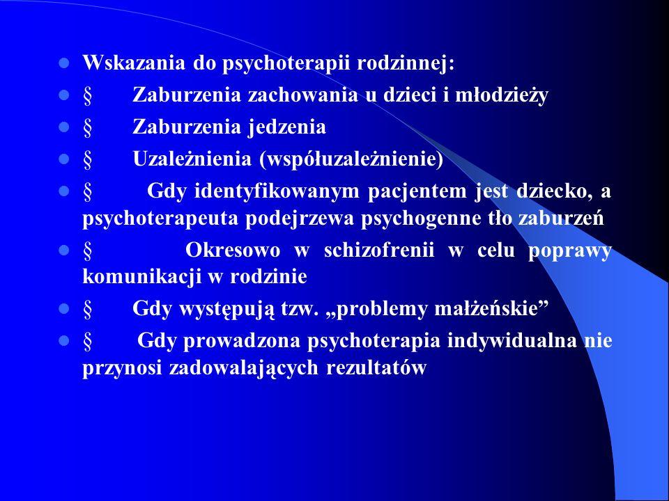 Wskazania do psychoterapii rodzinnej: Zaburzenia zachowania u dzieci i młodzieży Zaburzenia jedzenia Uzależnienia (współuzależnienie) Gdy identyfikowa