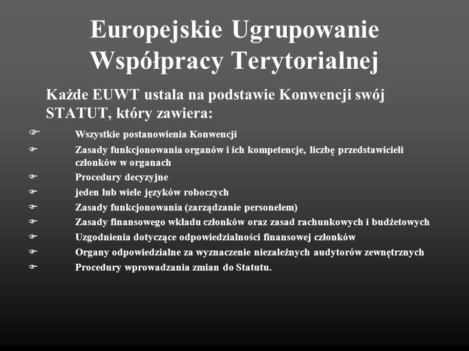 Europejskie Ugrupowanie Współpracy Terytorialnej Każde EUWT ustala na podstawie Konwencji swój STATUT, który zawiera: Wszystkie postanowienia Konwencj