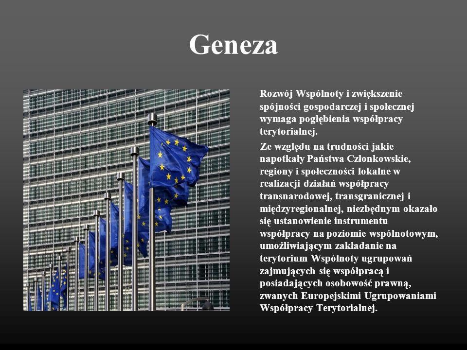 Europejska Współpraca Terytorialna 3 wymiary i alokacja finansowa Europejska Współpraca Terytorialna 7,75 mld euro WSPÓŁPRACA TRANSGRNICZNA (obecnie INTERREG III A) 73,86% 5,58 mld euro WSPÓŁPRACA TRANSNARODOWA (obecnie INTERREG III B) 20,95% 1,58 mld euro WSPÓŁPRACA MIĘDZYREGIONALNA (obecnie INTERREG III C; INTERACT/ESPON./URBACT) 5,19% 0,39 mld euro Europejskie Ugrupowania Współpracy Terytorialnej
