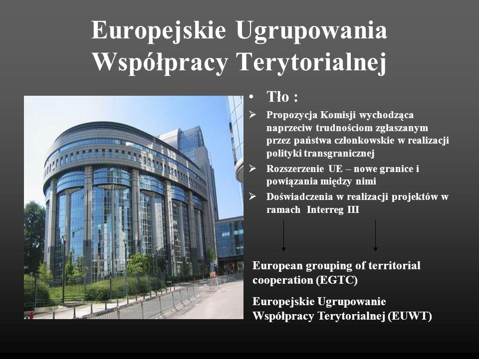 Europejskie Ugrupowania Współpracy Terytorialnej Podstawy prawne Rozporządzenie (WE) nr 1082/2006 Parlamentu Europejskiego i Rady z dnia 5 lipca 2006 r.