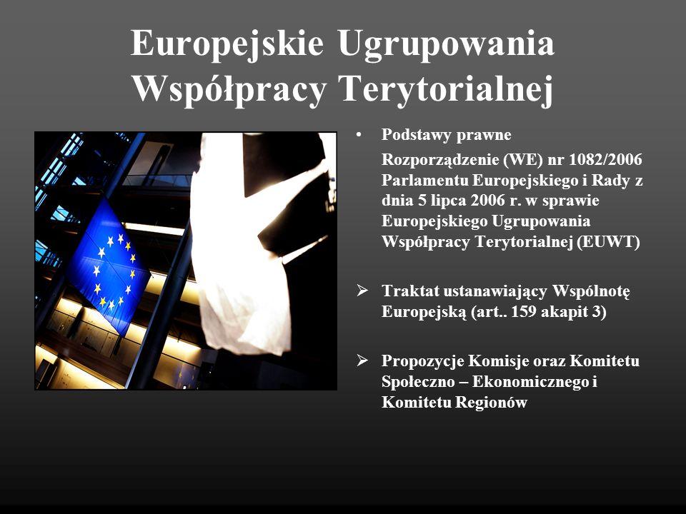 Europejskie Ugrupowania Współpracy Terytorialnej Podstawy prawne Rozporządzenie (WE) nr 1082/2006 Parlamentu Europejskiego i Rady z dnia 5 lipca 2006