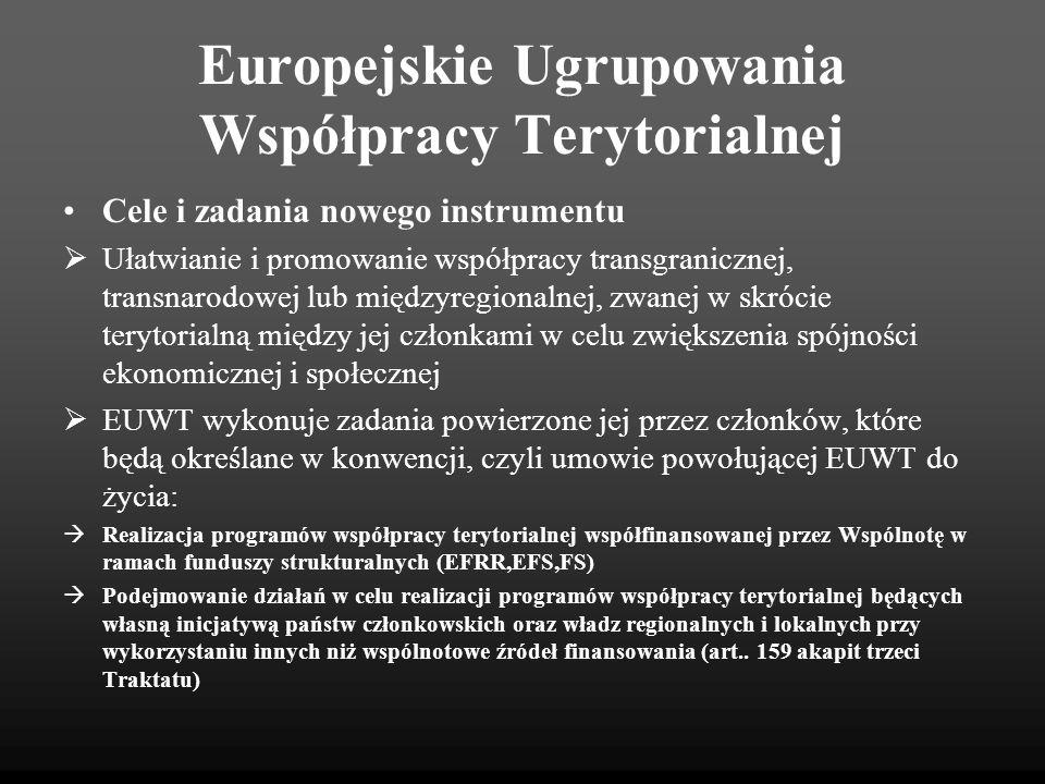 Europejskie Ugrupowania Współpracy Terytorialnej Status EUWT posiada osobowość prawną i zdolność do czynności prawnych, zgodnie z ustawodawstwem krajowym, posiada zdolność do rozporządzania majątkiem ruchomym oraz nieruchomym, zatrudniania personelu oraz może być podmiotem czynności prawnych.