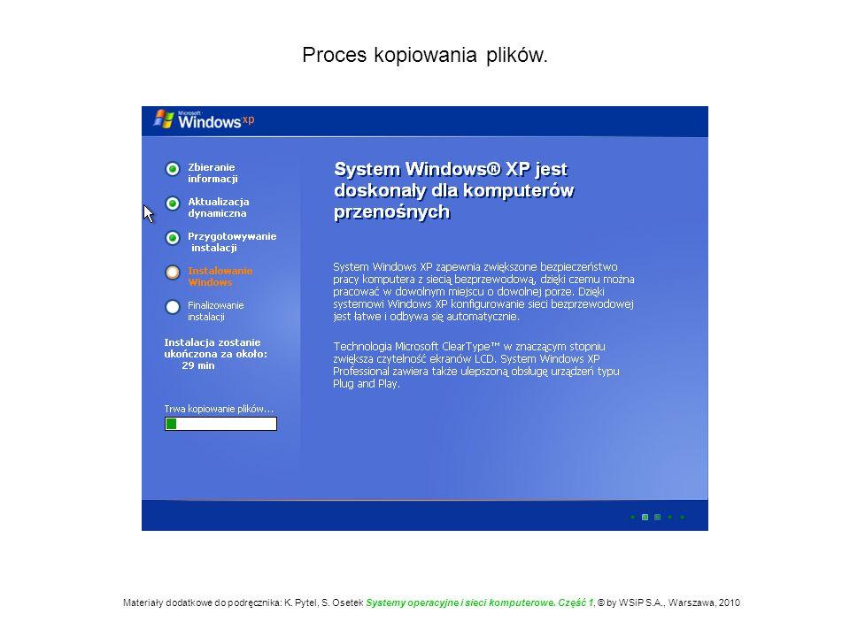 Proces kopiowania plików. Materiały dodatkowe do podręcznika: K. Pytel, S. Osetek Systemy operacyjne i sieci komputerowe. Część 1, © by WSiP S.A., War