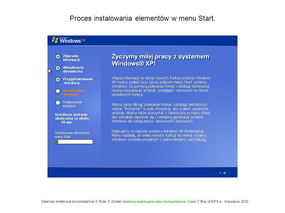 Proces instalowania elementów w menu Start. Materiały dodatkowe do podręcznika: K. Pytel, S. Osetek Systemy operacyjne i sieci komputerowe. Część 1, ©
