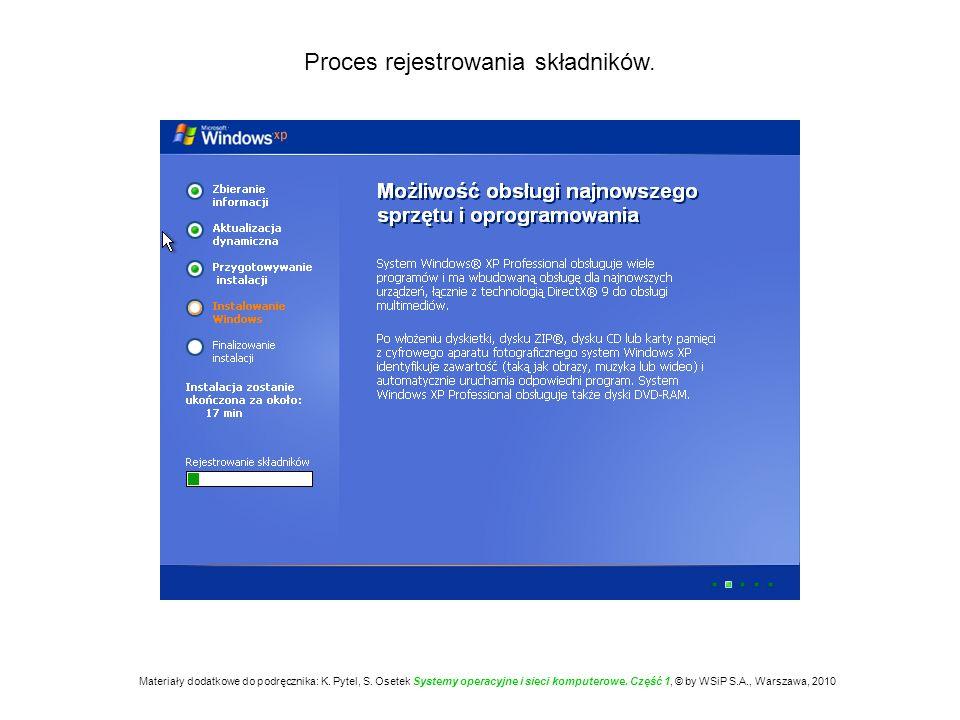 Proces rejestrowania składników. Materiały dodatkowe do podręcznika: K. Pytel, S. Osetek Systemy operacyjne i sieci komputerowe. Część 1, © by WSiP S.
