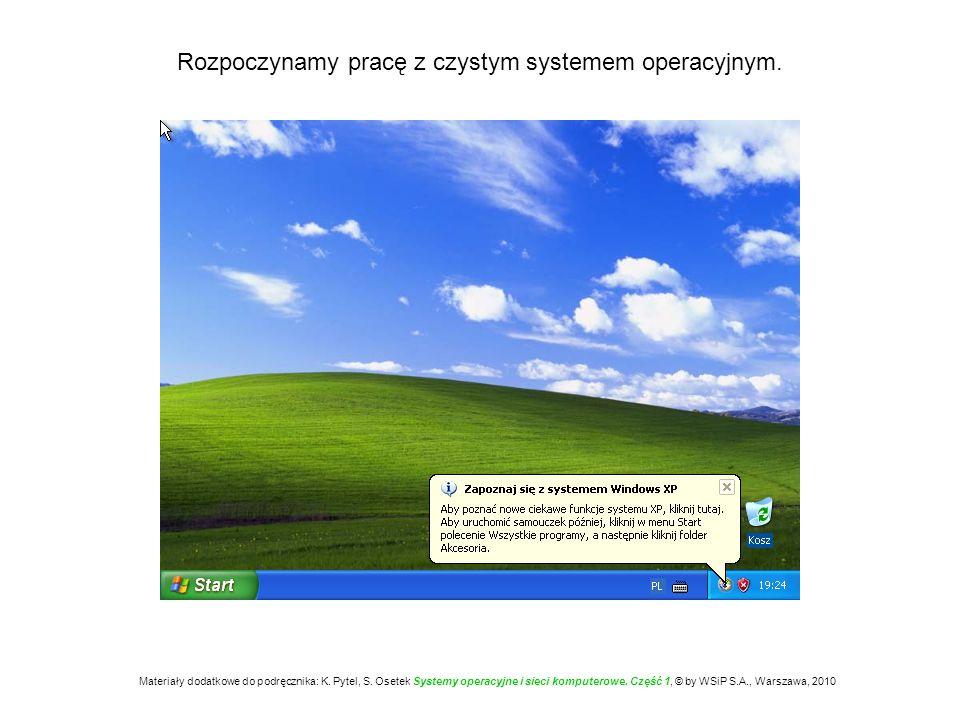 Rozpoczynamy pracę z czystym systemem operacyjnym. Materiały dodatkowe do podręcznika: K. Pytel, S. Osetek Systemy operacyjne i sieci komputerowe. Czę
