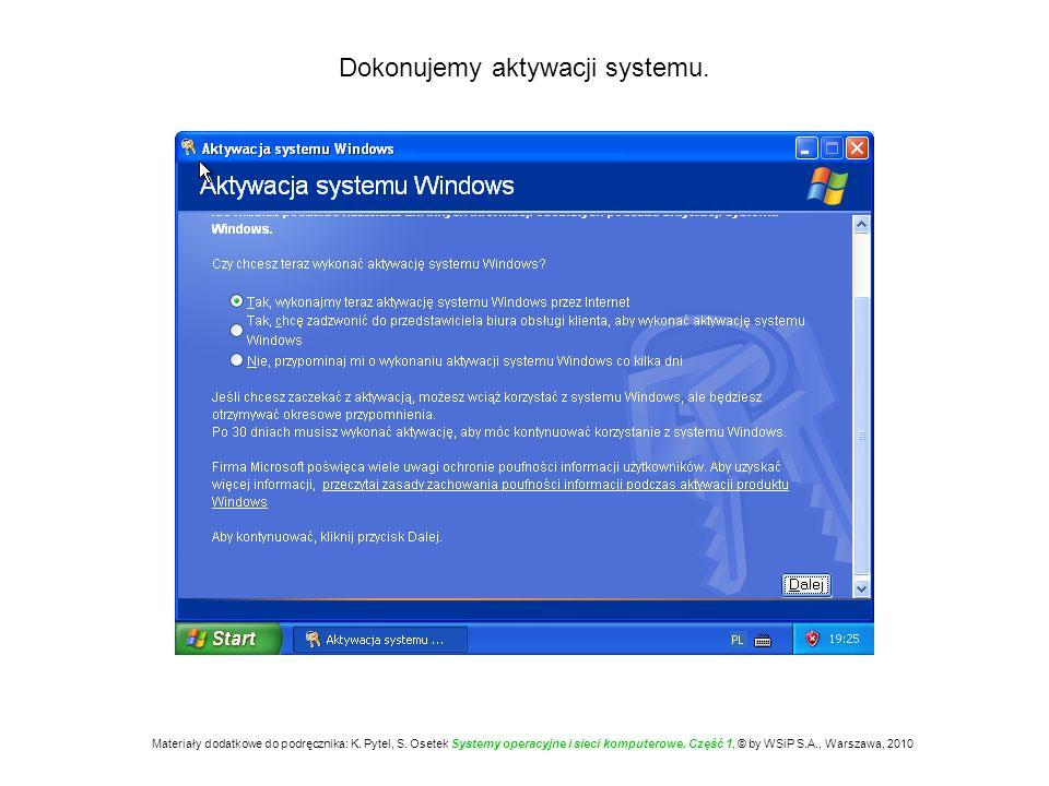 Dokonujemy aktywacji systemu. Materiały dodatkowe do podręcznika: K. Pytel, S. Osetek Systemy operacyjne i sieci komputerowe. Część 1, © by WSiP S.A.,