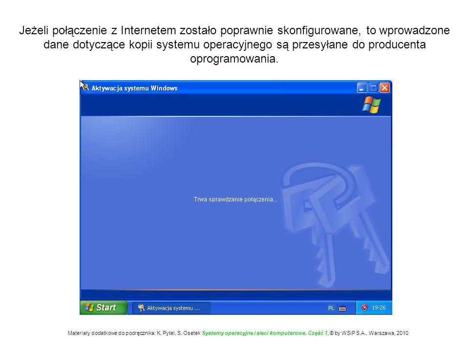 Jeżeli połączenie z Internetem zostało poprawnie skonfigurowane, to wprowadzone dane dotyczące kopii systemu operacyjnego są przesyłane do producenta