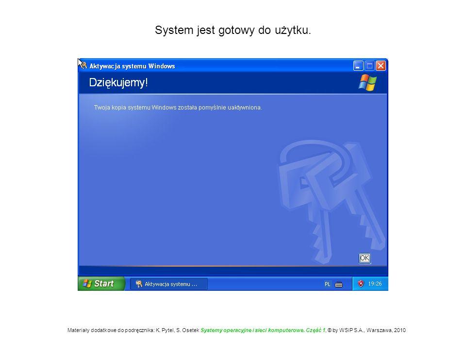 System jest gotowy do użytku. Materiały dodatkowe do podręcznika: K. Pytel, S. Osetek Systemy operacyjne i sieci komputerowe. Część 1, © by WSiP S.A.,