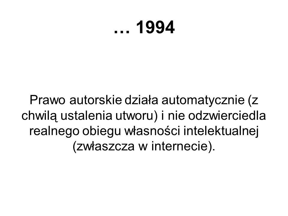… 1994 Prawo autorskie działa automatycznie (z chwilą ustalenia utworu) i nie odzwierciedla realnego obiegu własności intelektualnej (zwłaszcza w inte